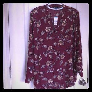 NWT Fall moron Emma button down blouse size xxl